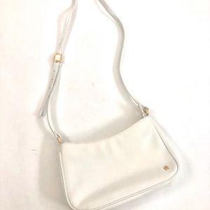 Etienne aigner retro white leather crossover purse